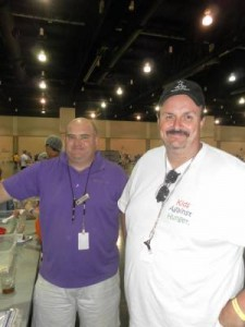 Chris Moore, executive chef, and Jason Bourgoyne, Director of Operations, supervise the packing of the final meals. The goal of 1 million meals was reached around 11 p.m. Saturday night.