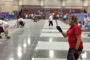 Joyce Manis of Wisconsin focuses on the pin as she prepares for one of her final pitches.