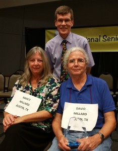 2015 Senior Spelling Bee Champion David Millard (right) with his wife, Nancy, and Bee director Scott Firebaugh.