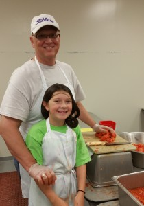 Syscos James Bosi volunteered with his daughter.